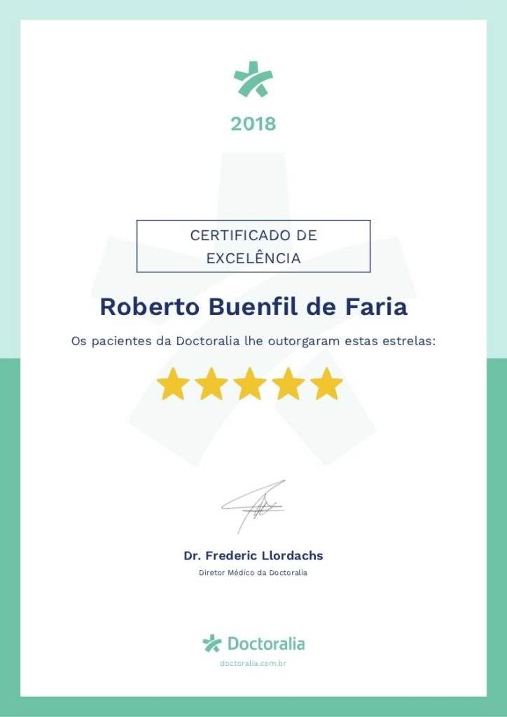 Certificado de Excelência concedido ao Dr Roberto Faria pelo Portal Doctoralia